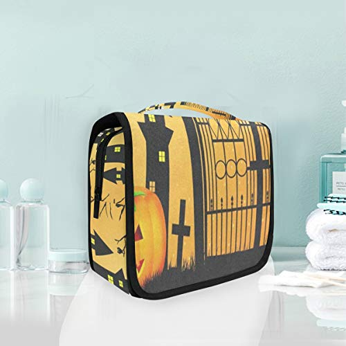Travel Hanging Toiletry Bag Halloween Pumpkin Cool Cosmetic, Makeup and Toiletries Organizer | Compact Bathroom Storage | Home, Gym, Airplane, Hotel, Car Use]()