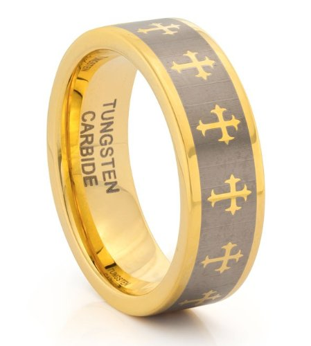 8MM Tungsten Carbide Mens Classic Gold Wedding Band Ring (Available Sizes N - Z+2) SIZE S OeL1Ln