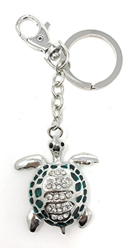Sea Turtle Keychain / Purse Jewelry, Silver Tone Metal with Crystals, 4.75L (Crystal Silver Tone Metal)