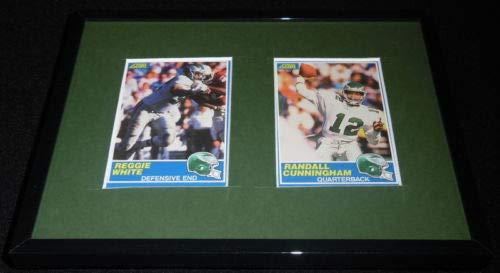 Reggie White Randall Cunningham Framed VINTAGE 1989 Score Card Set Eagles