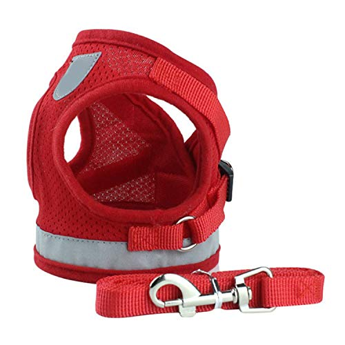 Reflective Safety Pet Dog Harness and Leash Set for Small Medium Dogs Cat Harnesses Vest Puppy Chest Strap Pug Chihuahua Bulldog,Red,L ()