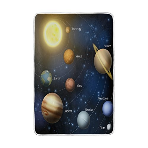 ALAZA Home Decor Planet Solar System Blanket Soft Warm Blankets for Bed Couch Sofa Lightweight Travelling Camping 90 x 60 Inch Twin Size for Kids Boys Girls by ALAZA