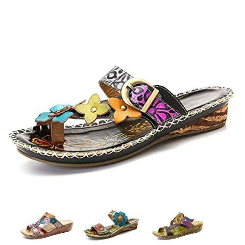 gracosy Slide Sandals, Women Leather Flat Sandal Slip On Flip Flop Shoes Flower Splicing Platform Sandals Black 7 B(M) US
