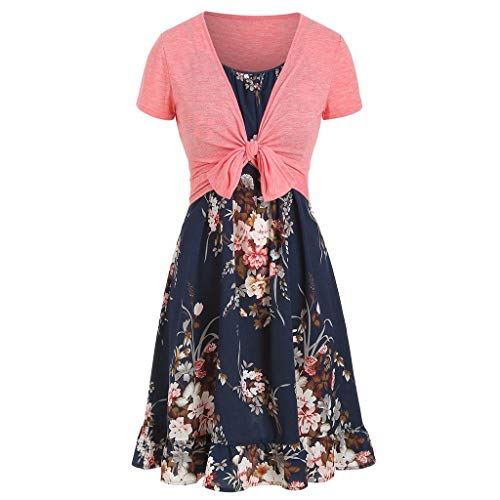 Women's Plain Short Sve Pleated Loose Swing Casual di Dress Knee-Length Beach Flower Ca Dress Sundress (Runner Bobble Head)