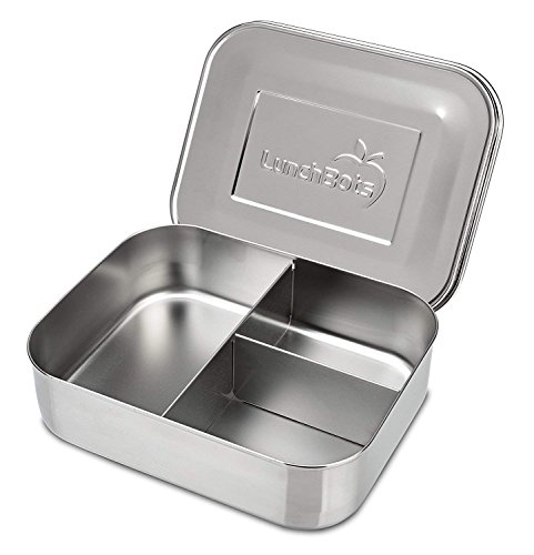 LunchBots Trio II Stainless Steel Food Container - Three Section Design Perfect for Healthy Snacks, Sides, or Finger Foods On The Go - Eco-Friendly, Dishwasher Safe and BPA-Free - All Stainless by LunchBots (Image #1)