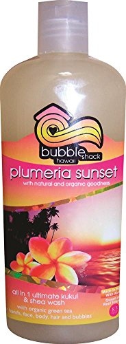 Hawaii Bubble Shack All in 1 Ultimate Kukui & Shea Body Wash Plumeria Sunset 4 Bottles (Sunset Soap Dish)