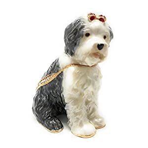 Kubla Crafts Enameled Old English Sheepdog Trinket Box, Accented with Austrian Crystals 1
