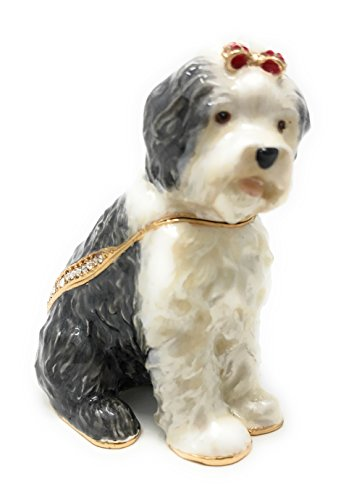 Kubla Crafts Enameled Old English Sheepdog Trinket Box, Accented with Austrian Crystals