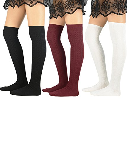 Zando Women Cotton Knit Spiral Over The Knee Thigh High Long Stocking Socks B 3 Pairs Black Burgundy (Basic B Costume)