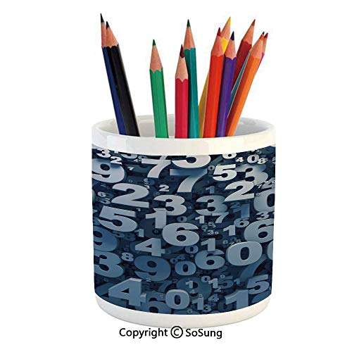 Printed Ceramic Pencil Pen Holder Case Box,Abstract 3D Style Random Number Digits Symbols Algebra Signs Decorative Beautiful Stationery for Daily Use in Office,Classroom,Home,Gift Idea,Blue White