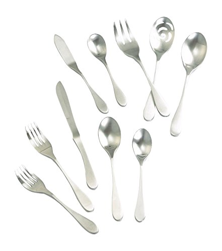 Knork 128 Original Flatware Set, 45 Piece, Silver (Matte Flatware Set)