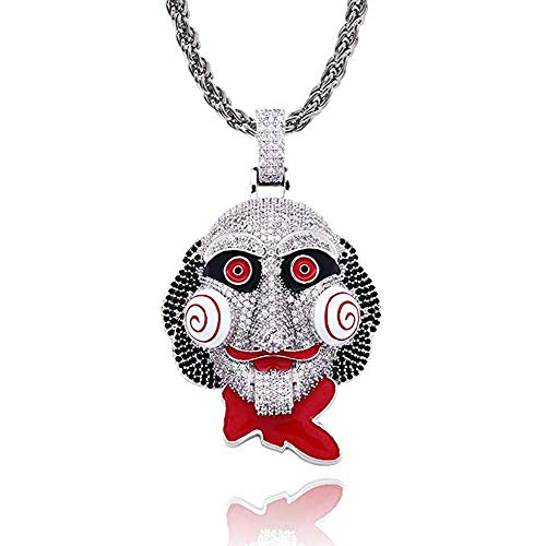 Baofum Hip Hop Iced Out Bling 6ix9ine Chain Clown 69 Tekashi69 Pendant Saw Billy Cosplay Inspired Gold Plated Diamond Necklace with 24