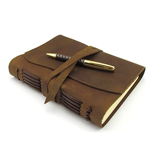 Leather Journal Travel Diary, Handmade Vintage Writing Bound Notebook for Men & Women, Antique Soft Rustic Leather 6 x 8 - Quality Unlined Paper Perfect for Notes Sketchbook - Hidden Pen-Holder + Pen
