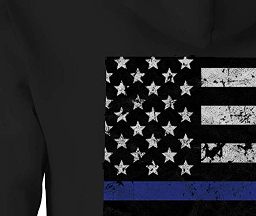 Thin Blue Line Distressed American Flag Zip Up Hoodie New Mexico