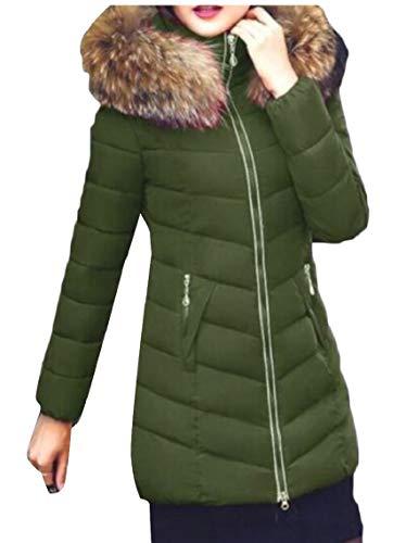 Down Outdoor Lined Coats Long Fur Army Green Faux Women Hoodie Parka Jacket Gocgt xwOZn1B8qx