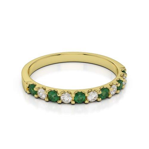 Or jaune 18carats 0,33CT G-H/VS Certifié Coupe ronde Émeraude et diamants Agdr-1107