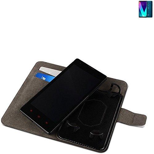 Funda para el LG Electronics V30S+ ThinQ, Walletcase hecho de cuero sintético en negro, monocromático y simple. Bolsillo para el teléfono móvil con ranuras para tarjetas de crédito y la función del so