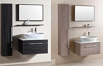 mobile arredo bagno da 80cm sospeso moderno acero con colonna e mensola mobili