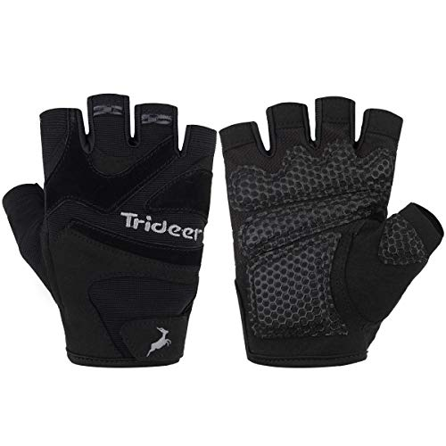 Trideer Ultralight Workout Gloves, Flexible Gym Gloves with Anti-Slip Silica Gel Grip & Adjustable Strap, Exercise Gloves(Men&Women) (#1Black, L)