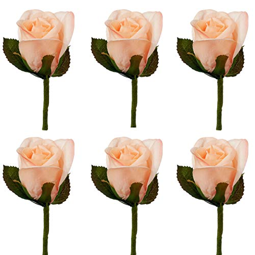 Peach Rose Boutonniere - TheBridesBouquet.com Coral Peach Silk Rose Boutonniere | Groom Boutonniere | Groomsmen Formal Prom | Set of 6