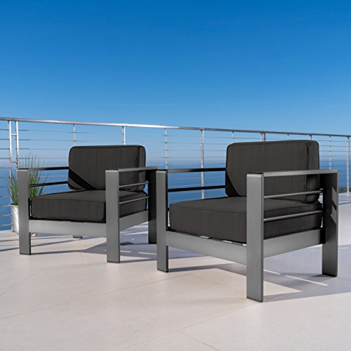 Crested Bay Patio Furniture | Outdoor Grey Aluminum Club Chairs with Dark Grey Water Resistant Cushions (Set of 2)