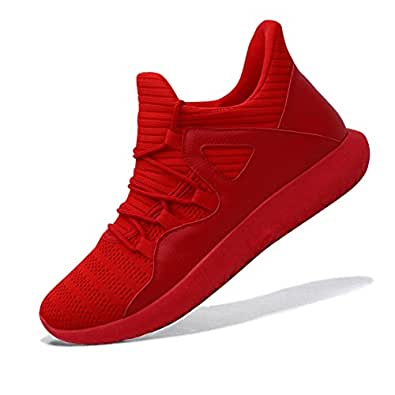MAIERNISI JESSI Men's Women's Casual Lightweight Trainers Breathable Mesh Sneakers Running Shoes Red Size: 6 Women/5 Men
