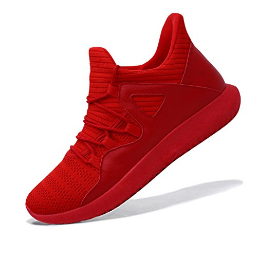 fereshte Men's Lightweight Fashion Sports Sneakers Gym Walking Trainers Running Shoes Red Men US (Red Womens Running Shoe)
