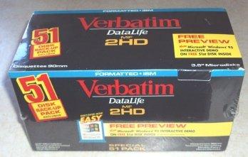 Datalife MF 2HD 3.5'' Formatted IBM Microdisks - 51 Pack by Verbatim