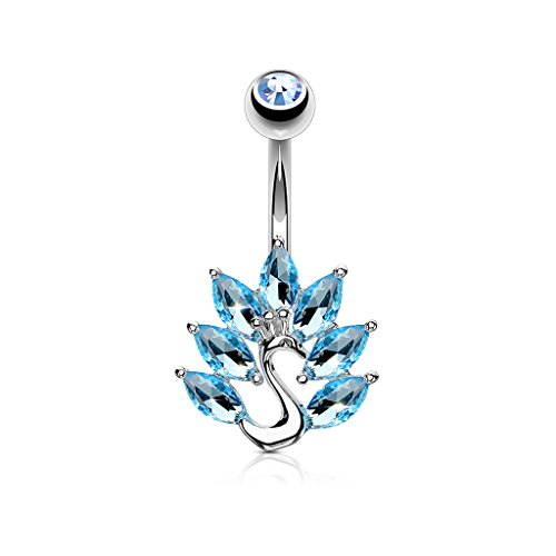 Pierced Owl Marquise Crystal Feather Peacock Belly Button Ring (Silver Tone/Aqua)