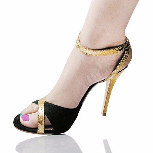 ZHZNVX Zapatos de mujer Cowhide Primavera Verano bomba básica Comfort sandalias Stiletto talón for casual Oro Verde Green