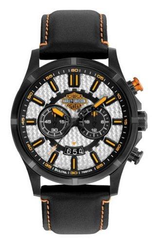 Harley-Davidson Men's Bulova Chronograph Leather Strap Wrist Watch. 78B128