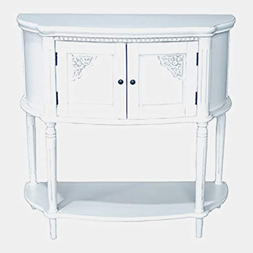 Wood Console Table with Shelf - Hand Carved Console Table with Cabinets - Antique White