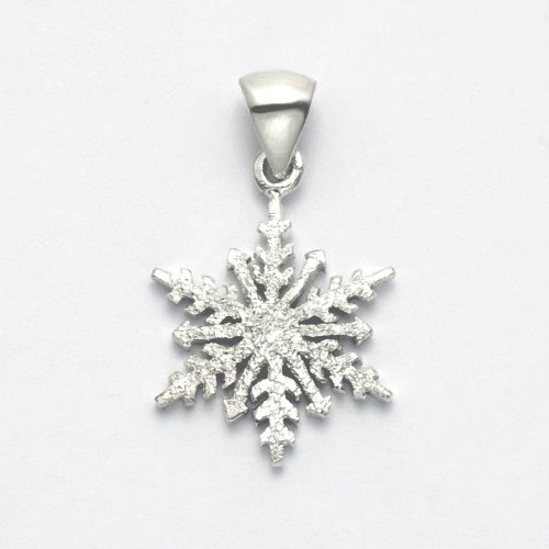 Wild Things Sterling Silver Frosted Finish Snowflake Pendant