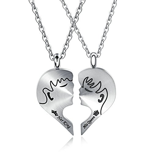 Gnzoe Stainless Steel Kiss Pendant Necklace Engrave
