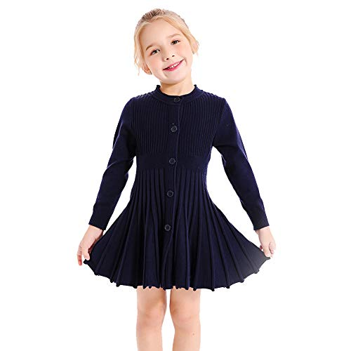 (SMILING PINKER Little Girls Pleated Dress School Uniform Long Sleeve Button Front Knit Sweater Dress (Navy Blue, 3-4))