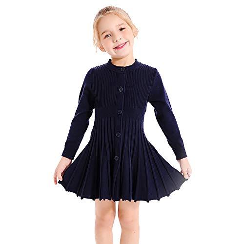 (SMILING PINKER Little Girls Pleated Dress School Uniform Long Sleeve Button Front Knit Sweater Dress (Navy Blue, 5-6))