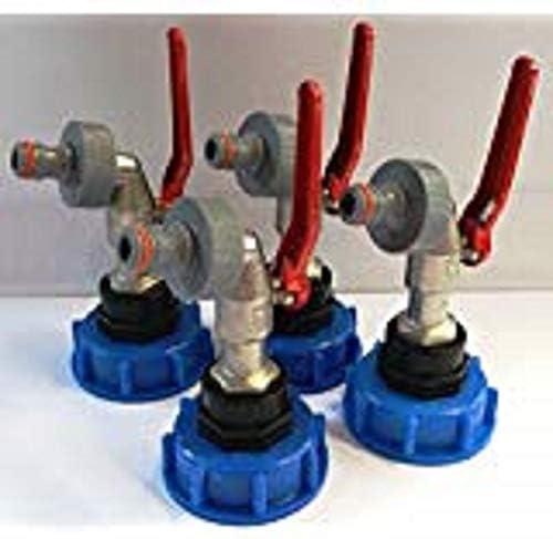 4x CMS60133MK99 Auslauf Kugelhähne mit Stecker passend für Gardena, IBC-Container-Zubehör-Regenwasser-Tank-Adapter-Fitting-Kanister