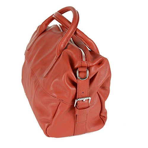 Borsa A Mano Weekend In Pelle Colore Rosso - Pelletteria Toscana Made In Italy - Borsa Donna