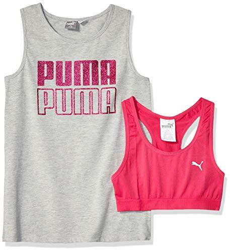PUMA Big Girl's Girls' Tank & Bra Set Bra, Light Heather Grey, L (Girls Clothes Bra)