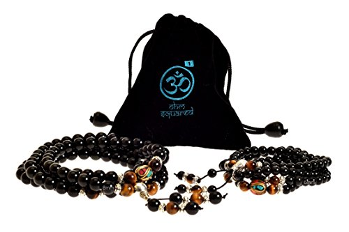 Mala Beads Tibetan Meditation Buddhist Genuine Black 108 Obsidian Healing Stones Tiger Eye Gemstone Wrist Bracelet / Bead Necklace - For Prayer, Yoga, Mantras, Reiki, Mudras, Energy Work (Bracelet Tiger Stone Eye)