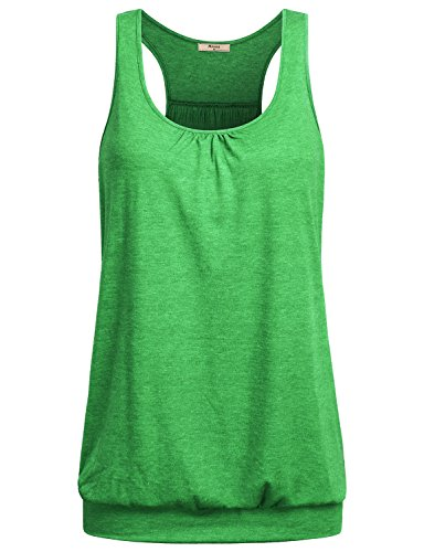 Miusey Womens Sleeveless Round Neck Loose Fit Racerback Workout Tank Top (Large, Grass-Green)