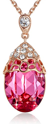 Leafael [Presented by Miss York] Teardrop Pink Filigree Pendant Necklace Made with Swarovski Crystals, 18K Rose Gold Plated Chain, 18