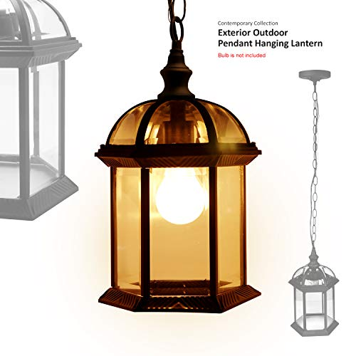 eTopLighting Contemporary Collection Exterior Outdoor Pendant Hanging Lantern with Beveled Clear Glass APL1023 (Lighting Hanging Lantern Fixture)