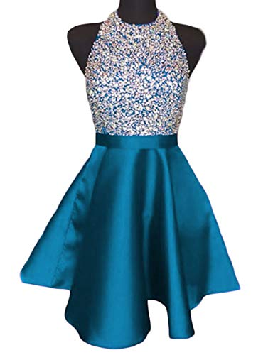 A-line Jewel Neck (Scarisee Women's Halter Jewel Neck Beaded Short Mini Homecoming Dresses Pockets Junior Prom Cocktail Party Gowns Teal 18 Plus)