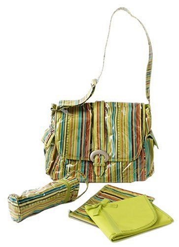 Pistachio Diaper Bag - Kalencom Laminated Buckle Bag, Pretty Stripe Pistachio