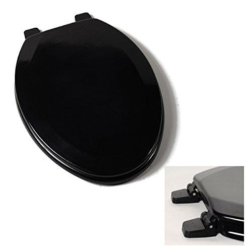 Deluxe Black Wood Elongated Toilet Seat