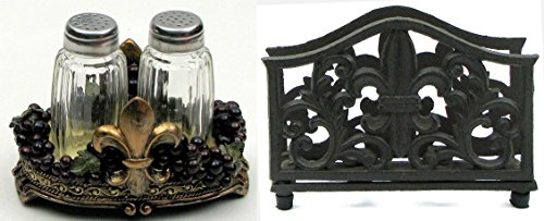 Polyresin Fleur De Lis Tuscany Grape Salt &