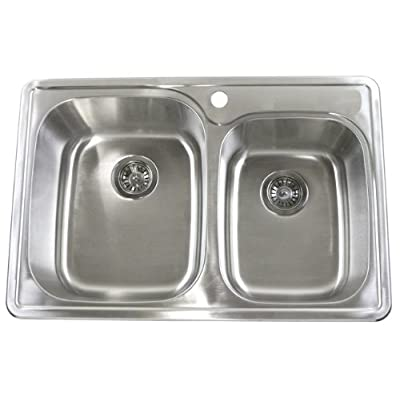 Image of Home Improvements 33 Inch Top-mount / Drop-in Stainless Steel 60/40 Double Bowl Kitchen Sink - 18 Gauge