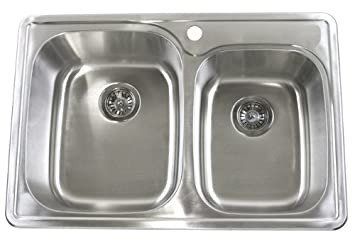 33 inch top mount drop in stainless steel 6040 double bowl - Bowl Kitchen Sink