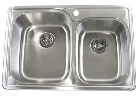 33 Inch Top-mount / Drop-in Stainless Steel 60/40 Double Bowl ...